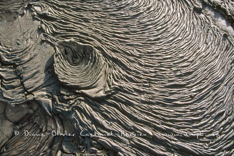 Détail de laves cordées - ïles Galapagos